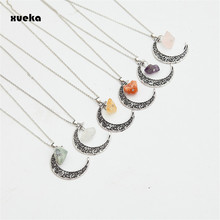 New Natural Necklaces Pendant Vintage Moon Necklace Irregular Purple Stone Rose Pendants Crystals Antique Bronze Chains Jewelry