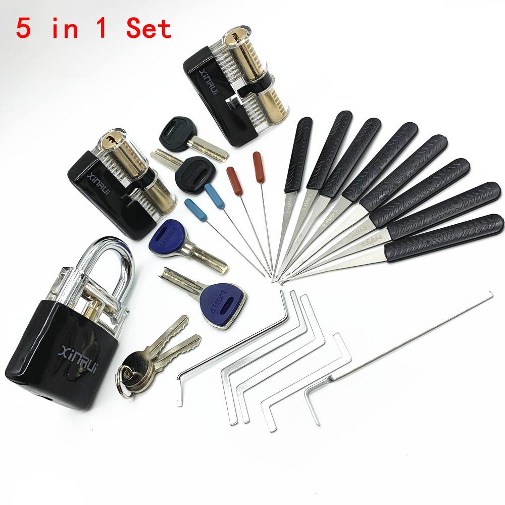 Locksmith Supplies Practice Lock Pick Set Tension Wrench Hand Tools With Broken Key Tool Combination Padlock Hardware