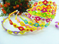 free shipping 20 pcs fashion kids girl mixed color plastic flower Headbands  Hair band