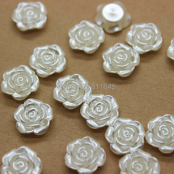 50pcs / lot 12mm Harz ABS Imitation Perlen Rose Flower Designed Flat Back Cabochon Perlen Für DIY Dekoration