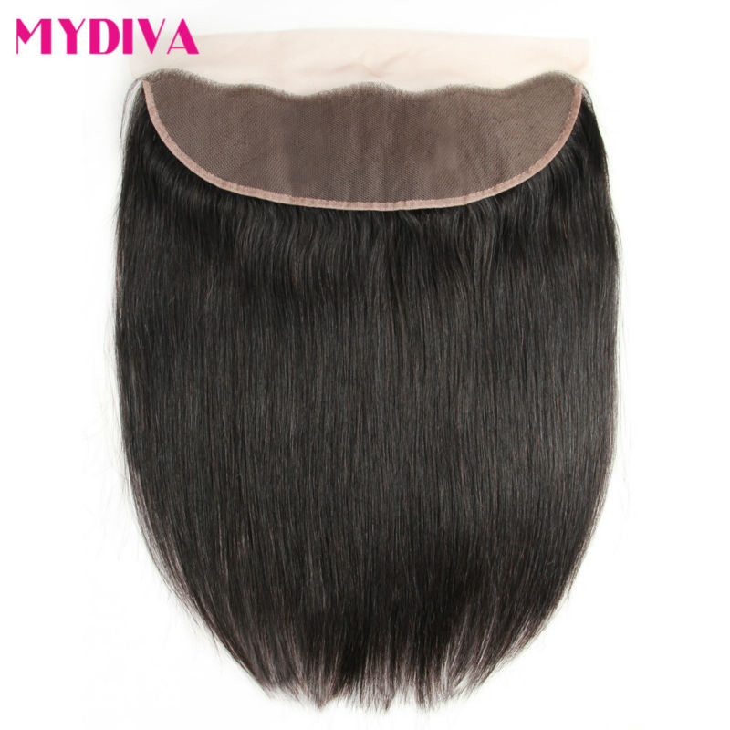 Ear to Ear 13x4 Lace Frontal Closure With Baby Hair Pre Plucked 8-20inch Brazilian Straight Non Remy Human Hair Free Part Mydiva