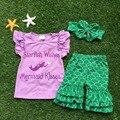 Meninas do bebê roupas de Verão do bebê meninas roupas boutique meninas starfish desejos sereia roupas beijos com headband correspondência