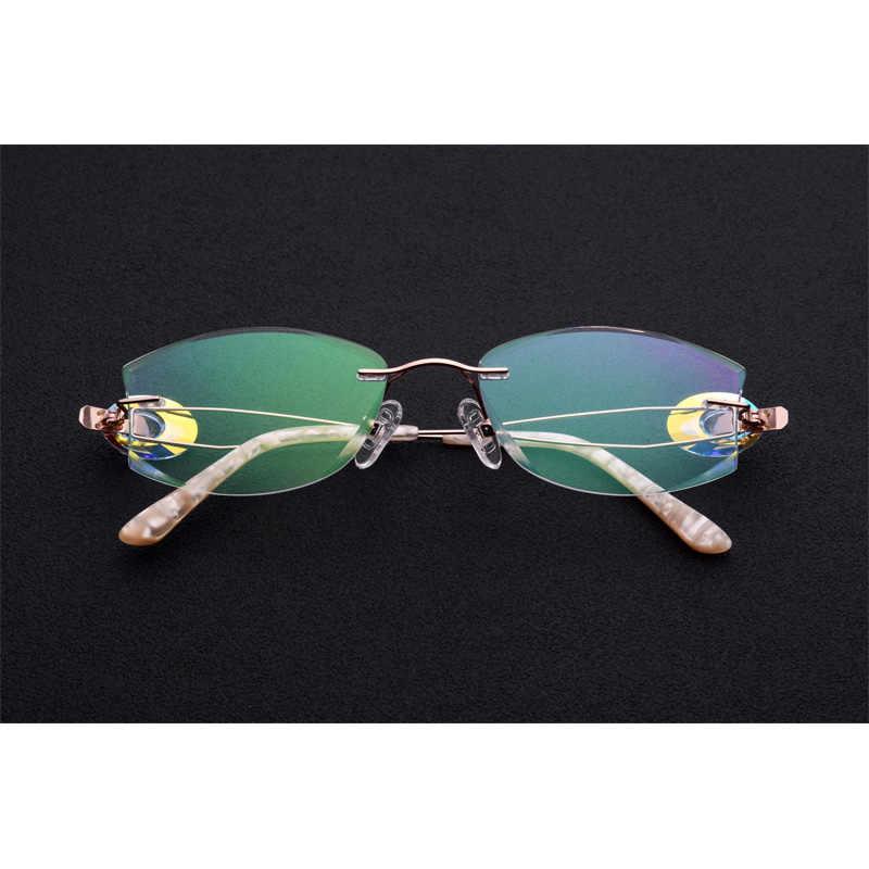 dae0f3483b71 ... Titanium Gold Rimless Drilling Women Eyeglasses Fashion Optical Frame  Fashionable Diamond Clear Glasses Size 53- ...
