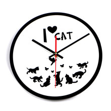 2017 Cat Wall Clock Black White I Love Cat Clock Silent Home Decoration Acrylic Wall Watch Living Room Relogio De Parede Gift