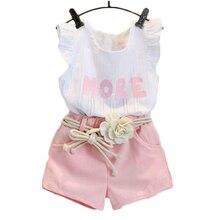 Children's Set 2019 Summer New Girls Fashion Wear Cotton Set Letter Print Sleeveless Tops Shorts Belt 40