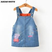 2017 Summer Style Denim Sundress For Girls Cowboy Dress Kids Clothes Brands Lovely Patterns Cartoon Pig
