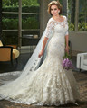 2017 Royal Style Lace Applique Bling Wedding Dresses with Half Sleeve O-neck Bridal Gowns Custom Plus Size Handwork Robe Mariage