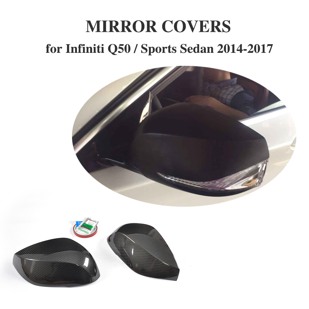 цена Add On Style DRY Carbon Fiber Rear View Mirror Cover Caps For Infiniti Q50 Sports Sedan 4 Door 2014-2017 Car Accessories