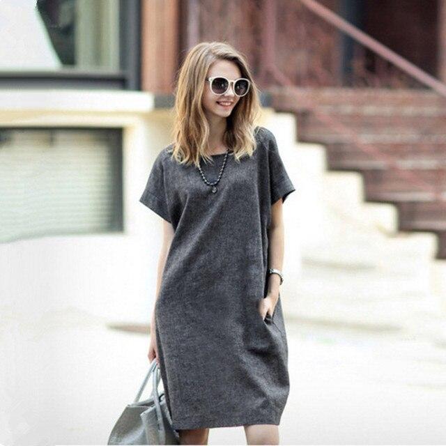 48667598 Damskie bawełniane i lniane sukienki lato 2017 europa duży rozmiar ...