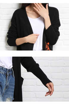 Large Cardigan Female Long Knitted Thick Cashmere Black Fashion Novelties Cardigan For Women With Pocket Warm Autumn Winter 2019