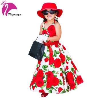 Weiqinniya Filles Robe Princesse Robe Pour Fille 2018 Enfants Floral Robes Pour Fille Mode Enfants Arc Imprimer Plage Robes D'été