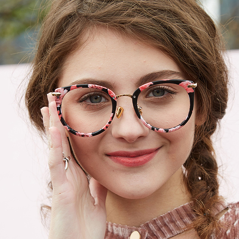 BUKE Women Round Eyeglasses Fashion Optical Computer Glasses Frame Brand Design Plain Eye glasses oculos Femininos 2018
