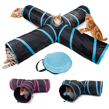 Pet Cat Tunnel Toys for Cat Kitten 4 Holes Collapsible Crinkle Cat Playing Tunnel Toy with Ball Tent Toy for Small Animal Rabbit