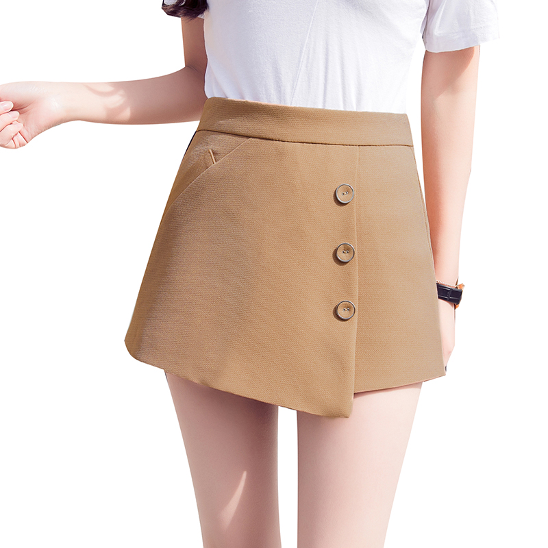Spring summer new shorts women high waist Asymmetric skirts shorts buttons slim plus size short femme ladies white black shorts