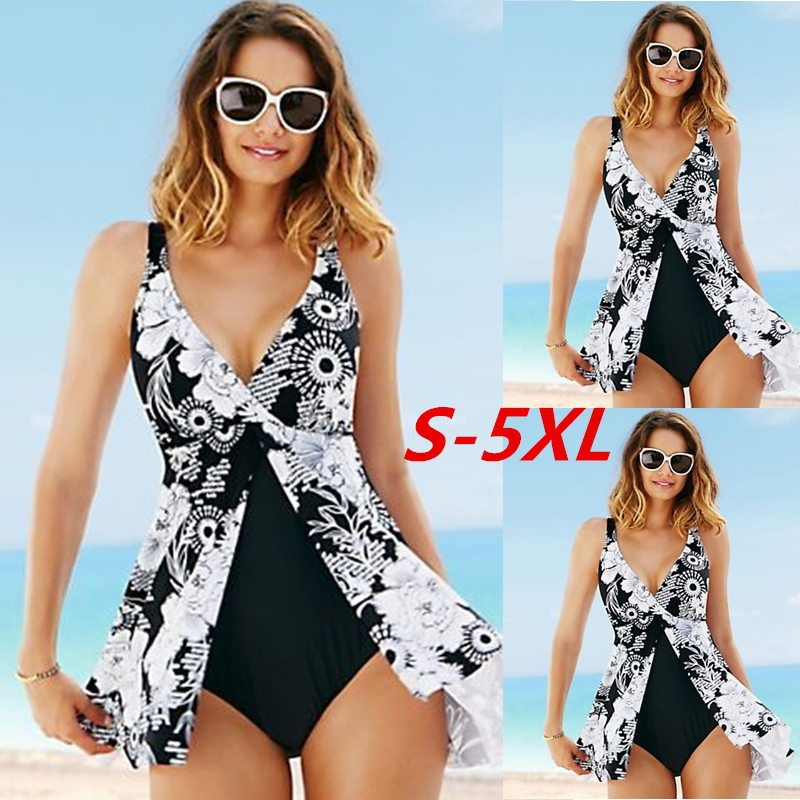 5XL Plus Size <font><b>One</b></font> <font><b>Piece</b></font> <font><b>Swimsuit</b></font> <font><b>2017</b></font> <font><b>Sexy</b></font> <font><b>Women</b></font> Sleeveless Deep V-neck <font><b>Print</b></font> High Waist Irregular <font><b>Swimwear</b></font> Backless Monokini image