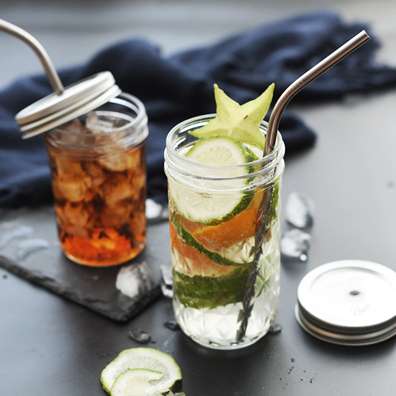 130 ~ 780ML Mason Jar glas kopp dryck rån med lock halm sommar Glass - Hemlagring och organisation - Foto 6