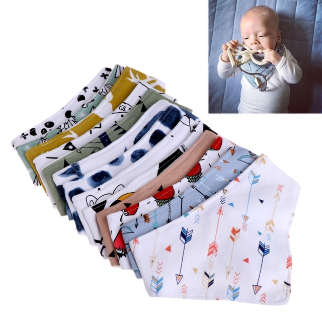 High Quality Infant Baby Unisex Bibs Feeding Saliva Towel Dribble Triangle Bandana Head Scarf
