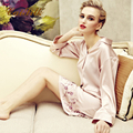 Caisilk sexy silk sleepwear female long-sleeve quality mulberry silk turn-down collar buckle nightgown lounge