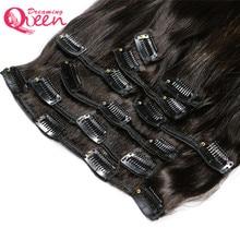 Dreaming Queen Hair Straight Hair Clips In Human Hair Eextensions 120g 7pcs/Set 1 Bundles Clips Ins Brazilian Remy Hair
