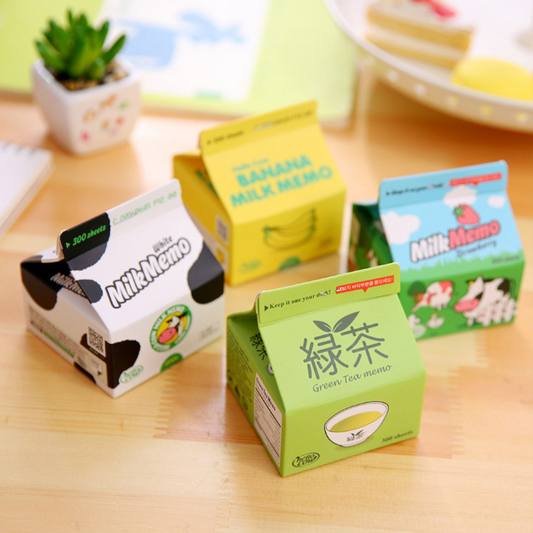 Cute Kawaii Design Milk Box 300 Sheets Memo Pads Creative Stationery Sketchbook Sticker Notepad Sticky For Memo Supplies Gift 200 sheets 2 boxes 2 sets vintage kraft paper cards notes notepad filofax memo pads office supplies school office stationery