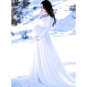 Image 5 - Maternity Dresses For Photo Shoot Maternity Photography Props Long Sleeve Maxi Dresses For Pregnant Women Pregnancy Clothes