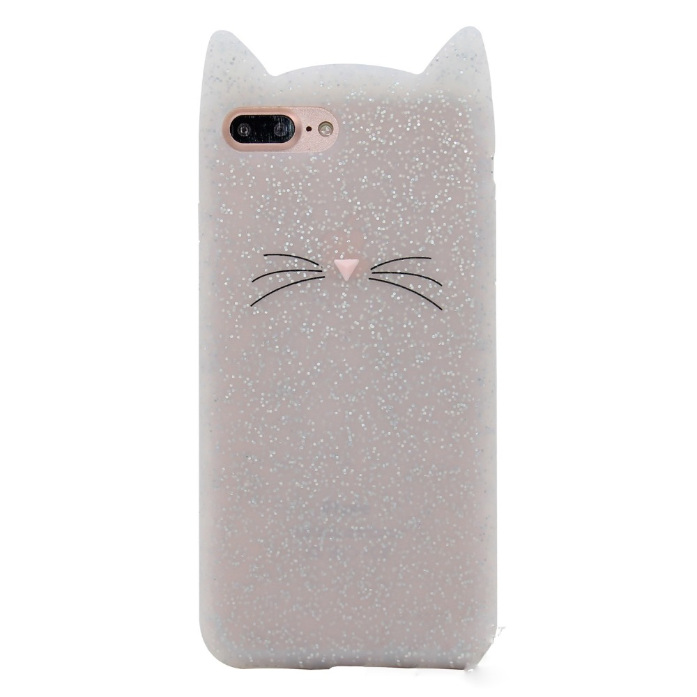Hongmeng NEW 3D cute cartoon glitter beard cat Ears soft silicone case For iphone 5 5s se 6 6s 8 plus X rubber Coque back cover