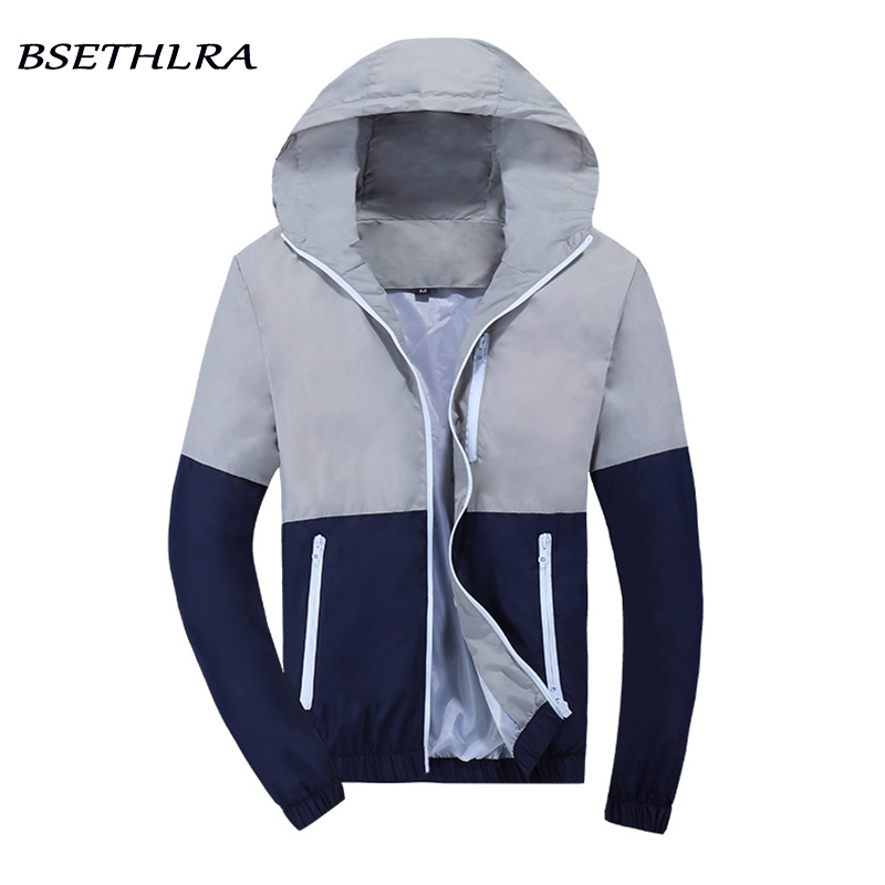 BSETHLRA 2018 New Mens Jackets Autumn Spring Casual Jaqueta Masculina Thin Windbreak Outwear Patchwork Design Fashion Mens Coat