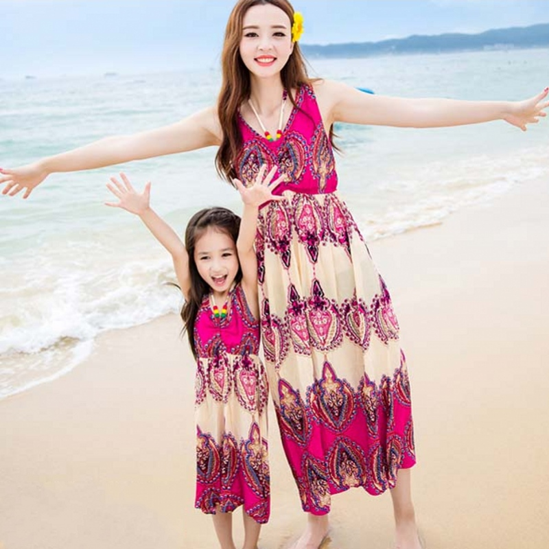 Free Shipping casual summer new family look mother and daughter dress sleeveless beach dresses Bohemian dress long dress