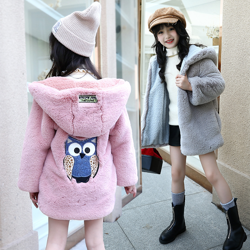 2017 Winter New Products Girl Hooded Sweaters Jackets Children Owl Embroidery Plush Jackets Children's Sweater Cardigan Hoodies