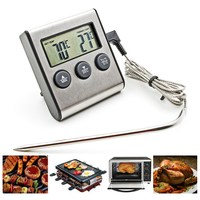 1 PC Rushed Digital Thermometer Oven Digital Lcd Display Probe Food Thermometer Timer Cooking Kitchen BBQ