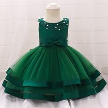 купить Beaded Bow Princess Green Fairy Dress Children Clothes Girls Dresses Toddler Girls Mesh Cake Layers Bow Dancing Dress for Party дешево