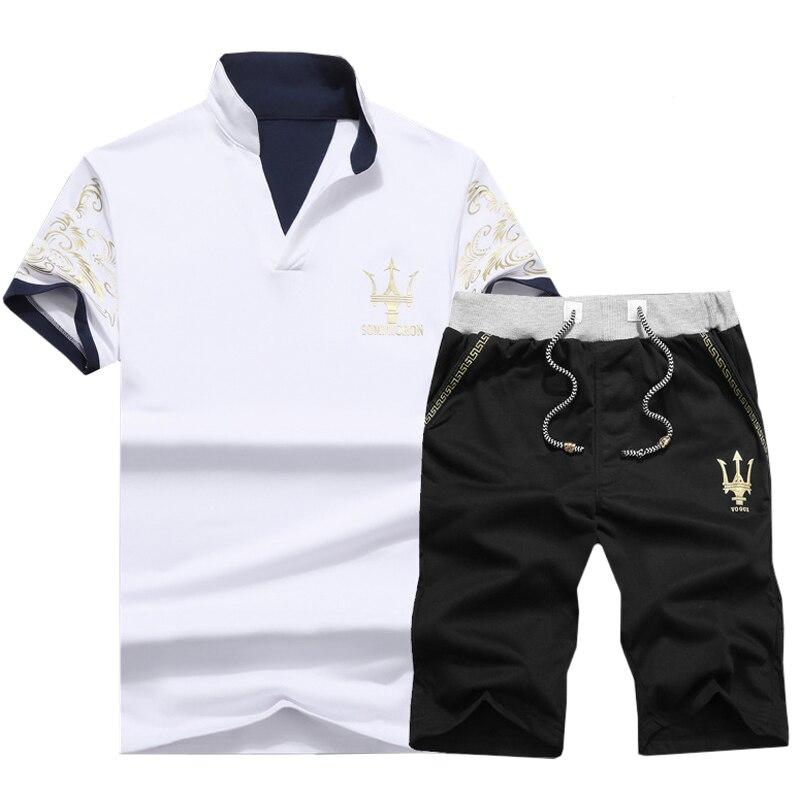 Summer Set Men Casual V-Neck Tracksuit Sportswear Mens Shorts Sets 2019 Sweat Suits Man Slim Fit T Shirts + Shorts 2PCS J0203