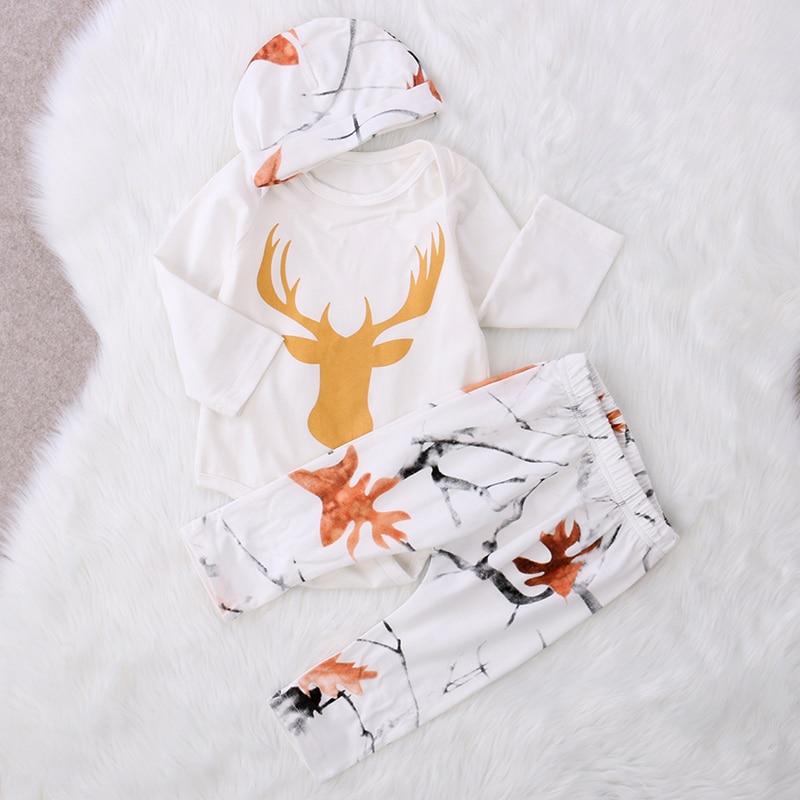 Newborn Infant Baby Boy Girl Clothes Deer Romper+Pant Legging Hat Outfit Set NEW