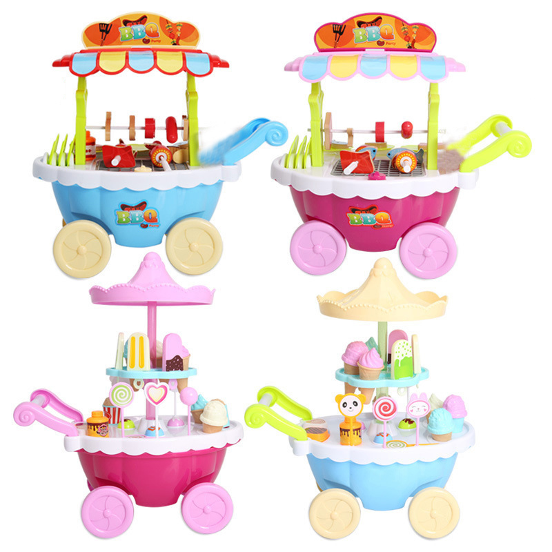 Children Role Play Toys Mini Candy Cart Music Lighting Ice Cream Shop Barbecue Cart Toy YH-17 ice cream cart toy