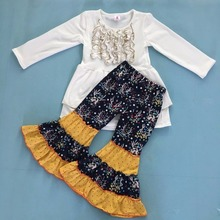 New Fashion Princess Cotton White Swing Top Matching Floral Ruffle pants Boutique Kids Sets toddler Girls Clothing F108