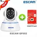Escam 720 p qf002 wifi ip de red inalámbrica en interiores cámara de infrarrojos soporte p2p ir-cut h.264 pan/tilt nube cámara ip + 32g tf tarjeta