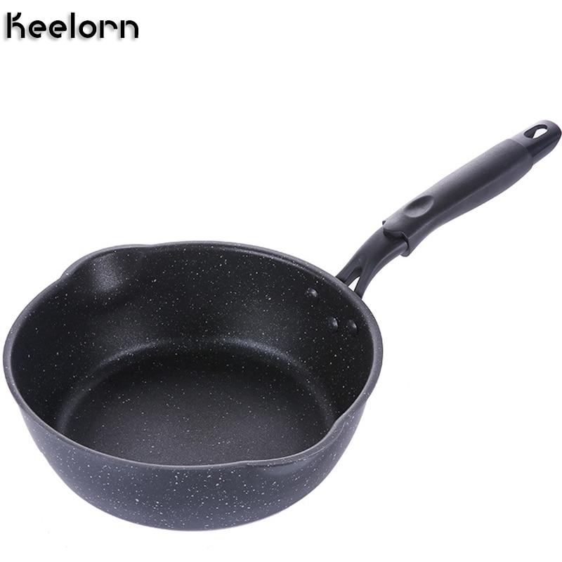 Keelorn 20 cm maifan pedra wok pan antiaderente frigideiras panela de sopa frigideira panela de cozinha multiuso geral para gás