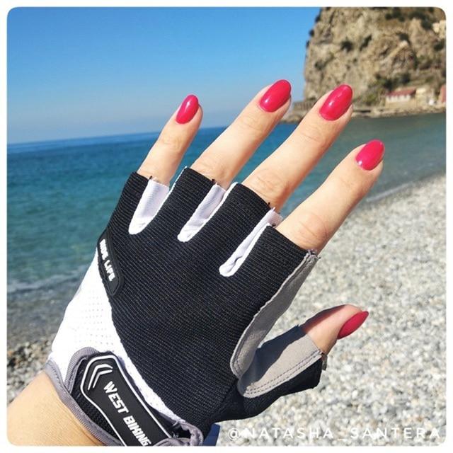 Luvas para ciclismo west biking, luvas grossas à prova de choque de meio dedo para esporte, caminhadas, motocicleta mtb 5