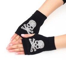 Зимние женские перчатки с милыми рисунками животных из мультфильмов, с черепами, с заклепками, теплые, вязаные, с бриллиантами, с блестками, крутые, без пальцев, танцевальные перчатки G101