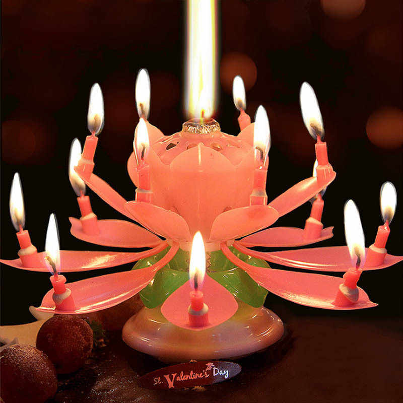 Magnificent Happy Birthday Cake Candles Blossom Creative Music Lotus Blossom Funny Birthday Cards Online Alyptdamsfinfo