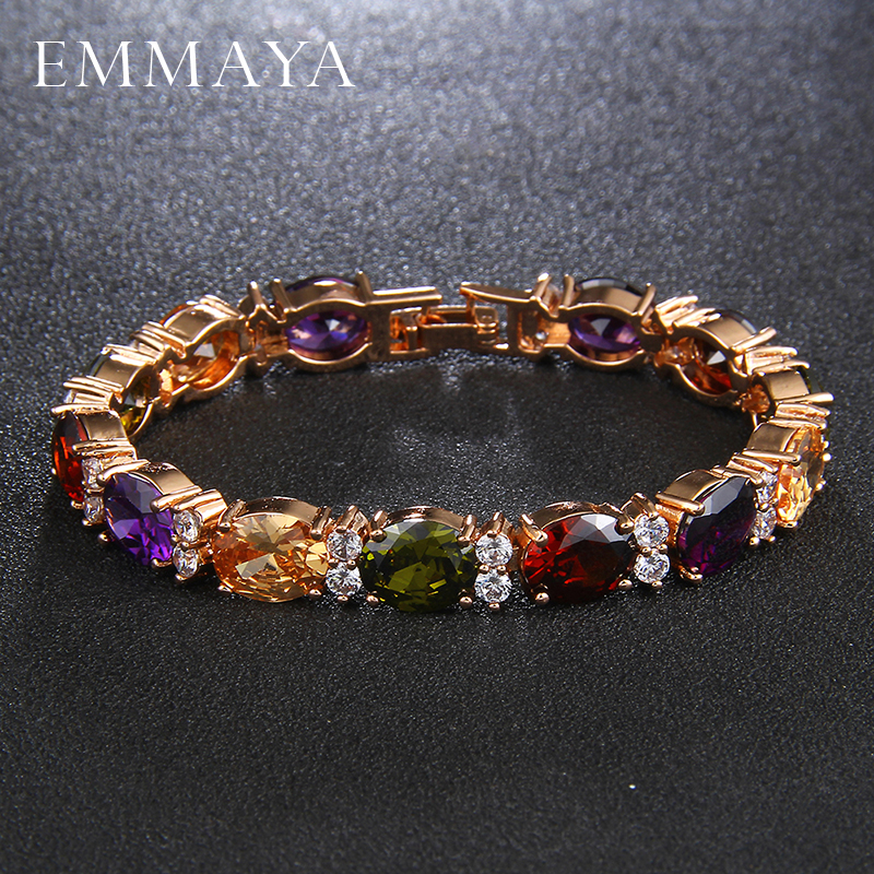 EMMAYA Fashion Woman CZ Jewelry Stunning Oval Shape CZ Stone Bracelet Bridal Wedding Jewelry Gift cz h37s