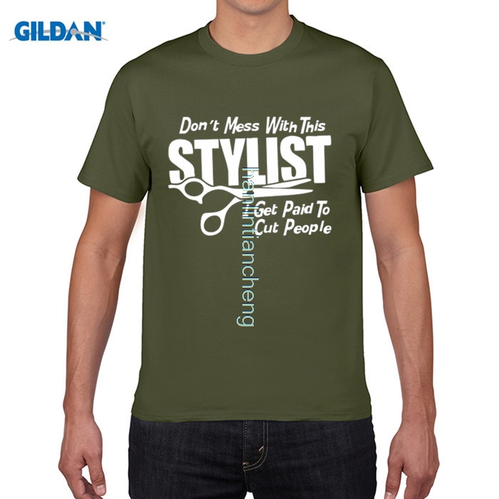 GILDAN Rude Top Tee Round Neck Dont Mess With This Stylist Hairdresser Cut Hair Barber Ladies Fitted Biker