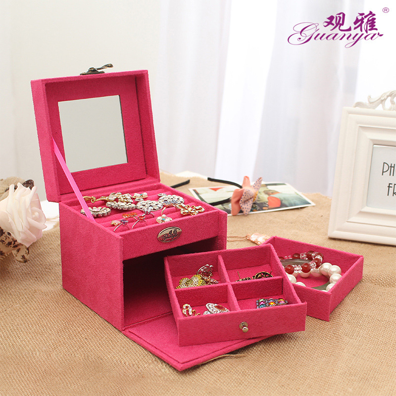 Guanya hot sell protable Velvet jewelry organizer jewel case 3