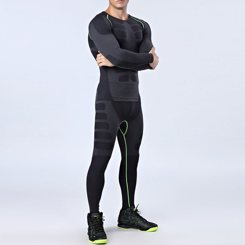 цены Quick Dry Men's Running Sets 2 pieces/sets Compression Sports Suits Men Basketball Tights Clothes Gym Fitness Jogging Sportswear