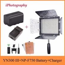 Yongnuo YN300 III 3200 К-5500 К Pro светодиодный свет на Камера Освещение для свадьбы + NP-F750 Батарея + Зарядное устройство для Canon Nikon и т. д.
