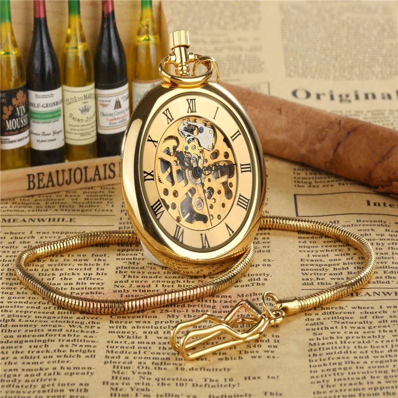 New Steampunk Retro Archaize Rome Num Copper Skeleton Mechanical Pocket Watch Hand Winding Antique FOB Chain Men Women Gift P286