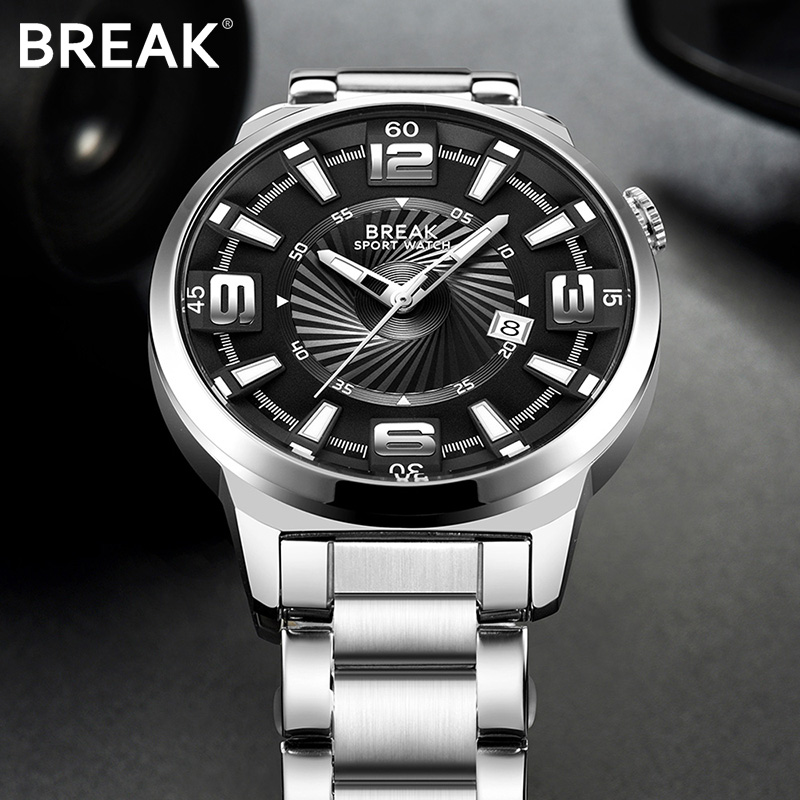 BREAK Mannen Top Luxe Merk Unieke Mode Casual Kalender Japan Quartz Sport Horloges Creative Gift Dress Horloges voor Heren