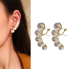 Fashion Crystal personality Crystal pearl Earrings For Women Bijoux Simulated Pearl Ball Big Circle Wedding Earring Jewelry