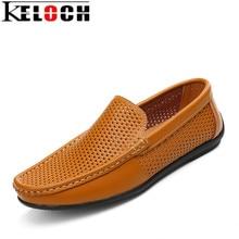 Keloch 2017 Estilo de Moda de Verano Suave Mocasines Gommino Holgazanes Hombres de Alta Calidad Zapatos de Cuero Genuinos Planos de Los Hombres Zapatos de Conducción
