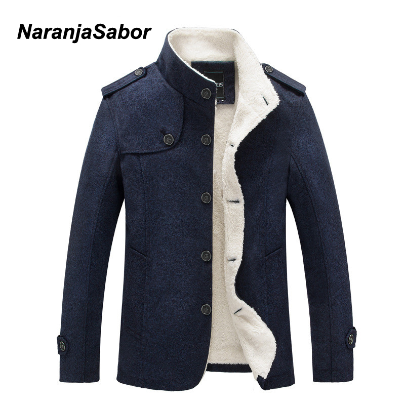 NaranjaSabor Winter Men's Coat Fleece Lined Thick Warm Woolen Coats Autumn Overcoat Male Wool Blend Jackets Brand Clothing N484